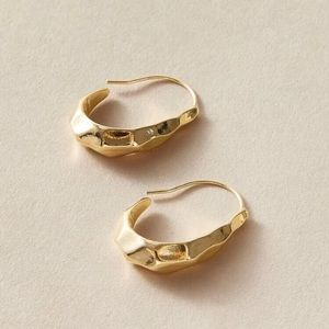 COPY - Gold Cuff Hoop Hammered Textured earrings